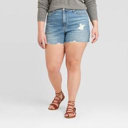 Women's Plus Size High-Rise Distressed Jean Shorts - Universal Thread™ Medium Wash