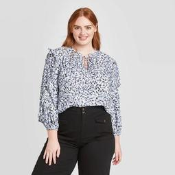 Women's Plus Size Floral Print Long Sleeve Round Neck Ruffle Detail Blouse - Who What Wear™
