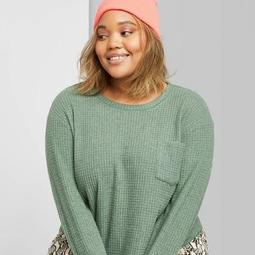 Women's Plus Size Long Sleeve Crewneck Waffle Cropped Top - Wild Fable™ Green