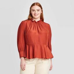 Women's Plus Size Long Sleeve Shirred Ruffle Boat Neck Blouse - Who What Wear™