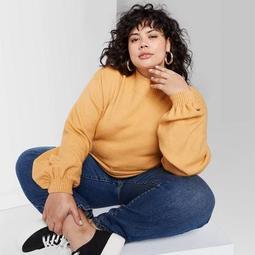 Women's Plus Size Mock Turtleneck Sweater - Wild Fable™ Yellow