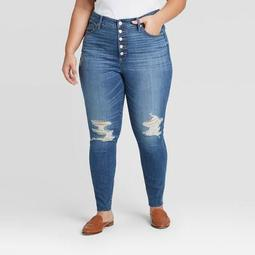 Women's Plus Size Distressed High-Rise Skinny Jeans - Universal Thread™ Medium Wash