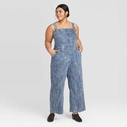 Women's Plus Size Striped Wide Leg Denim Overalls Universal Thread™ Medium Blue