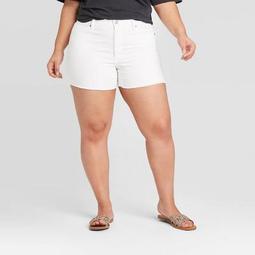 Women's Plus Size High-Rise Midi Jean Shorts - Universal Thread™ White