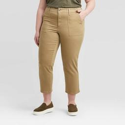 Women's Plus Size High-Rise Cropped Straight Jeans - Universal Thread™ Tan