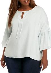 Plus Size Tiered Sleeve Peasant Top
