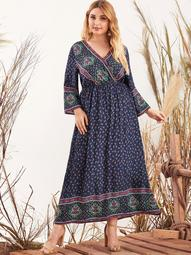 Plus Surplice Neck Tribal Print Dress