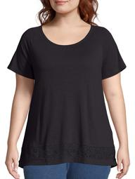 Just My Size Women's Plus Size Raglan Tee with Lace Panel Top