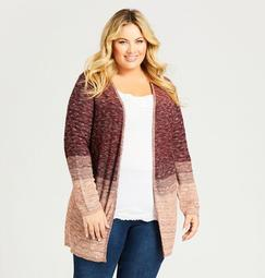 Textured Ombre Open Front Cardigan