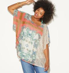 Butterfly Floral Mesh Top