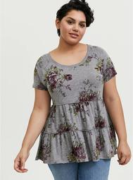 Heather Grey Floral Shirred Babydoll Top