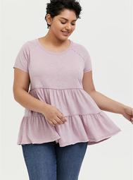 Mauve Pink Shirred Babydoll Top