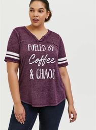 Coffee & Chaos Burgundy Purple V-Neck Football Tee