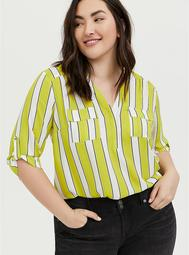 Harper - Lime Green Stripe Georgette Pullover Blouse