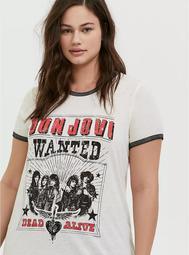 Bon Jovi Ivory Burnout Ringer Tee
