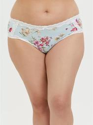 Aqua Floral Microfiber Lattice Hipster Panty