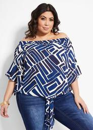 Geo Tie Front Elbow Sleeve Top