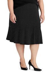 Plus Size Dot Print Jersey Skirt