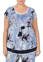 Plus Size Short Sleeve Paisley Top