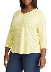 Plus Size 3/4 Sleeve Henley Shirt