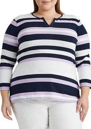 Plus Size Striped Stretch Cotton Top