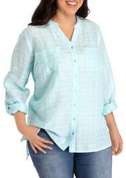 Plus Size Roll Tab High Low Pocket Shirt