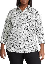 Plus Size No Iron 3/4 Sleeve Button Down Shirt