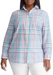 Plus Size Plaid Stretch Cotton Shirt