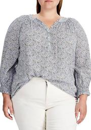 Plus Size Printed Crinkled Top