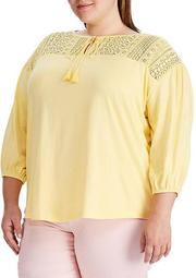 Plus Size Lace Yoke Jersey Top