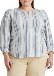 Plus Size Striped Dobby Top