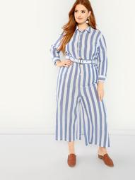 Plus Self Belted Striped Shirt Jumpsuit