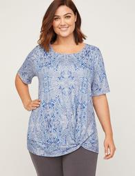 Floral Knot-Front Tee