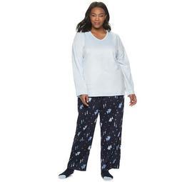 Plus Size Croft & Barrow® 3 Piece Minky Fleece Pajama Set with Sock