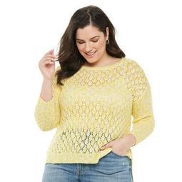 Plus Size EVRI Crewneck Pointelle Pullover Sweater