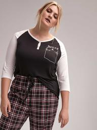 Henly Pajama T-Shirt with Raglan Sleeves - Déesse Collection