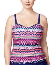 Profile by Gottex Women's Plus Size Ruffle Underwire Tankini Top, Multi, 22W