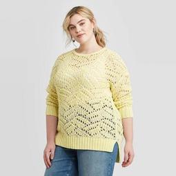 Women's Plus Size Crewneck Open Stitch Tunic Sweater - Universal Thread™