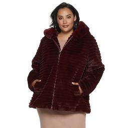 Plus Size Gallery Textured Hood Faux-Fur Jacket