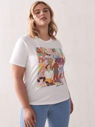 Basic Graphic Cotton T-Shirt - Addition Elle