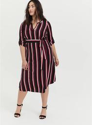 Black & Fuchsia Pink Stripe Challis Self-Tie Midi Dress
