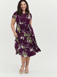 Plum Purple Floral Jersey Tiered Midi Dress