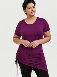 Super Soft Plum Purple Drawstring Side Tunic Tee
