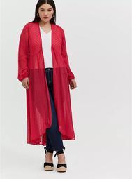 Fuchsia Pink Swiss Dot Hi-Lo Kimono