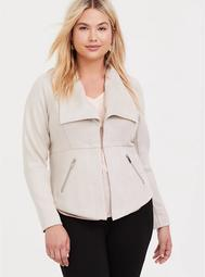 Ivory Faux Suede Jacket