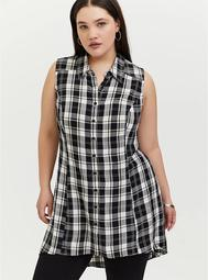 Black Herringbone Plaid Twill Tunic Tank
