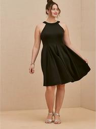 Black Scuba Knit Mini Fluted Dress