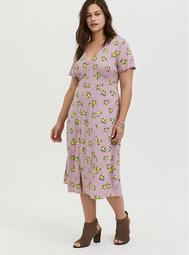 Mauve Pink Lemon Print Challis Button Midi Dress