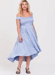 Disney Cinderella Blue Off Shoulder Satin Hi-Low Dress