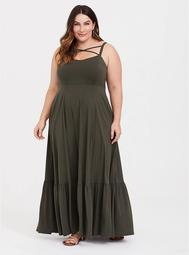 Olive Green Jersey Crisscross Shirred Maxi Dress